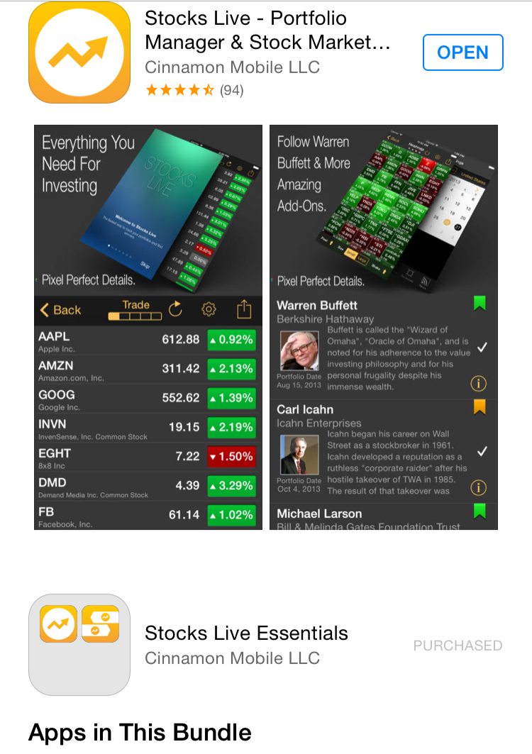"""StocksLive is an iPhone app that has """"activities."""" These activities have  catered scans for specific market types, billionaire portfolios,  industries, ..."""